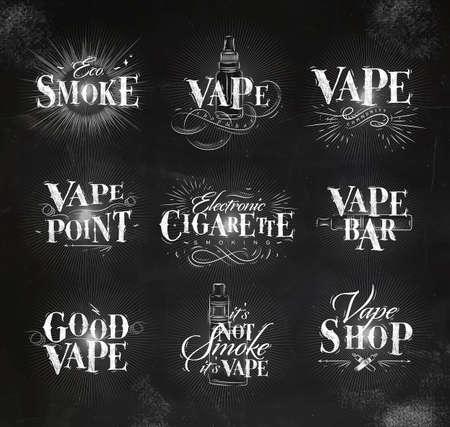 propylene: Vape labels in vintage lettering eco smoke, vape bar, electroni cigarette, its not smoke drawing with chalk on chalkboard background. Illustration