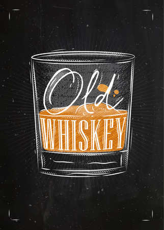 whisky glass: Poster glass of whiskey lettering old whiskey drawing with chalk and color on chalkboard background