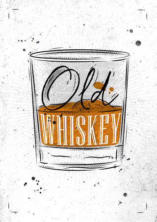scotch: Poster glass of whiskey lettering old whiskey drawing with chalk on dirty paper background