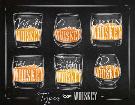 bourbon whisky: Poster types of whiskey with glasses lettering malt, corn, grain, blended, single post still, rye drawing with chalk and color on chalkboard background Illustration
