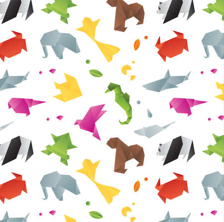Animals origami pattern snake, elephant, bird, seahorse, frog, fox, mouse, butterfly, pelican, wolf, bear, rabbit, crab, shark, horse, fish, parrot, monkey, pig, turtle, penguin, giraffe, cat, panda, kangaroo drawing with color on white background