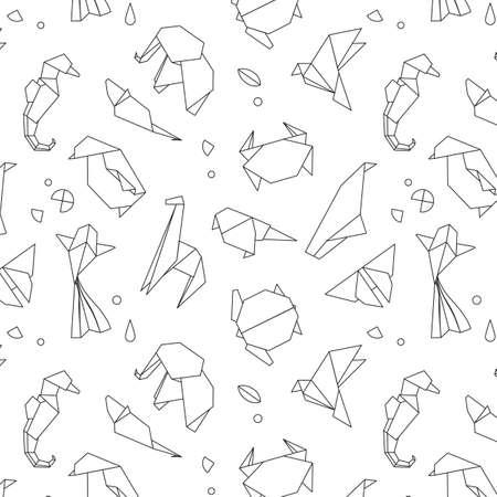 Animales de Origami patrón de serpiente, elefante, pájaro, caballito de mar, rana, zorro, ratón, mariposa, pelícano, lobo, oso, conejo, cangrejo, tiburón, caballos, peces, loro, mono, cerdo, tortuga, pingüino, jirafa, el gato, panda , canguro dibujo con líneas negras sobre fondo blanco