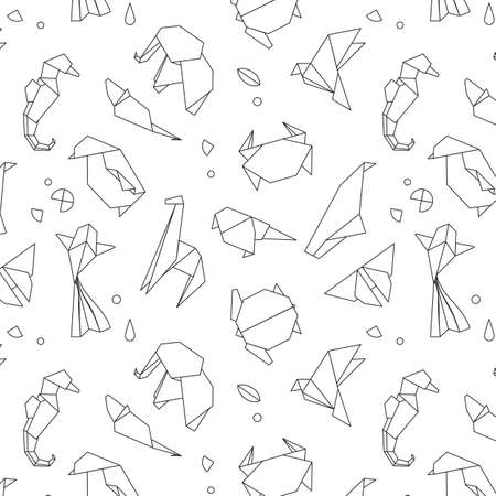 Animals origami pattern snake, elephant, bird, seahorse, frog, fox, mouse, butterfly, pelican, wolf, bear, rabbit, crab, shark, horse, fish, parrot, monkey, pig, turtle, penguin, giraffe, cat, panda, kangaroo drawing with black lines on white background