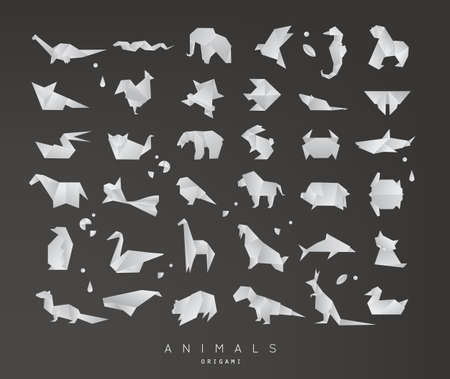 Set of animals grey origami snake, elephant, bird, seahorse, frog, fox, mouse, butterfly, pelican, wolf, bear, rabbit, crab, shark, horse, fish, parrot, monkey, pig, turtle, penguin, giraffe, cat, panda, kangaroo on black background