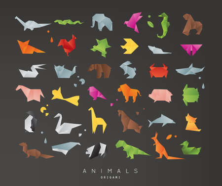 snake origami: Set of animals color origami snake, elephant, bird, seahorse, frog, fox, mouse, butterfly, pelican, wolf, bear, rabbit, crab, shark, horse, fish, parrot, monkey, pig, turtle, penguin, giraffe, cat, panda, kangaroo on black background Illustration