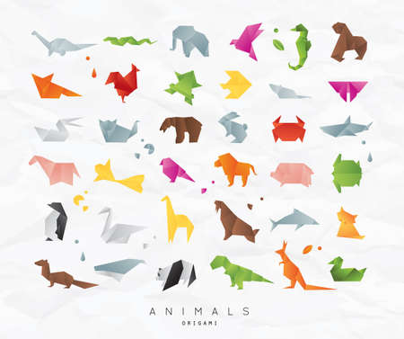 Set of animals color origami snake, elephant, bird, seahorse, frog, fox, mouse, butterfly, pelican, wolf, bear, rabbit, crab, shark, horse, fish, parrot, monkey, pig, turtle, penguin, giraffe, cat, panda, kangaroo on crumpled paper background
