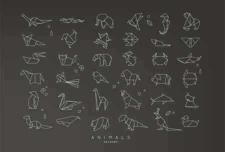 Set van dieren origami in platte stijl slang, olifant, vogel, zeevogel, kikker, vos, muis, vlinder, pelikaan, wolf, beer, konijn, krab, paard, vis, aap, varken, schildpad, kangoeroe op zwarte achtergrond