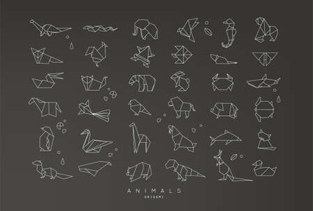 Set of animals origami in flat style snake, elephant, bird, seahorse, frog, fox, mouse, butterfly, pelican, wolf, bear, rabbit, crab, horse, fish, monkey, pig, turtle, kangaroo on black background Illustration