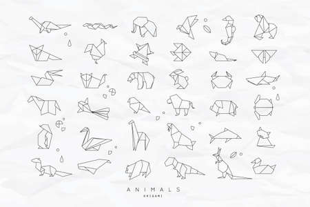 Set of animals white in flat style origami snake, elephant, bird, seahorse, frog, fox, mouse, butterfly, pelican, wolf, bear, rabbit, crab, monkey, pig, turtle, kangaroo on crumpled paper background Illustration
