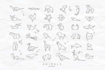 Zestaw zwierząt białe w stylu origami płaskie węża, słoń, ptaka, koniki morskie, żaby, lisy, myszy, motyl, Pelikan, wilk, niedźwiedź, królik, kraba, małpa, świnia, żółwia, kangura na zmięty papier tle Ilustracje wektorowe