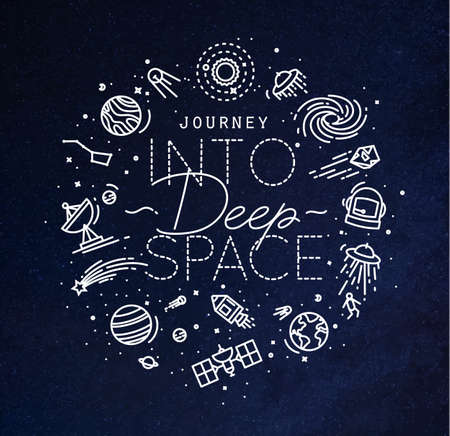 Space flat monogram lettering journey into deep space drawing with white lines on blue background Ilustrace