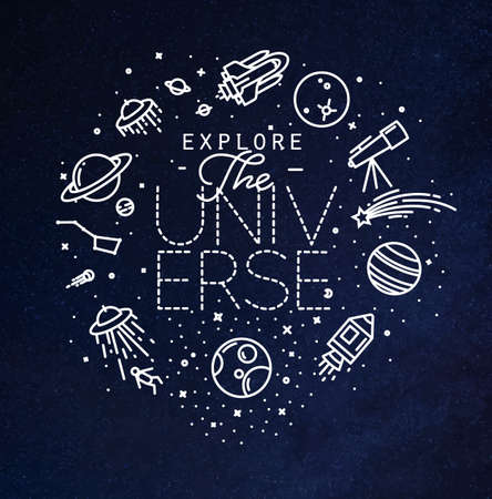 Space flat monogram lettering explore the universe drawing with white lines on blue background Ilustrace