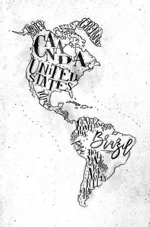 Vintage America map with country inscription united states, canada, mexico, brasil, peru, argentina drawing on dirty paper background