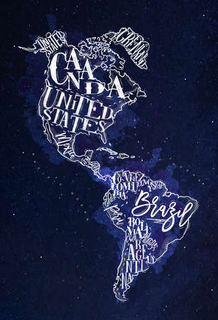 Vintage America map with country inscription united states, canada, mexico, brasil, peru, argentina drawing with chalk on blue background
