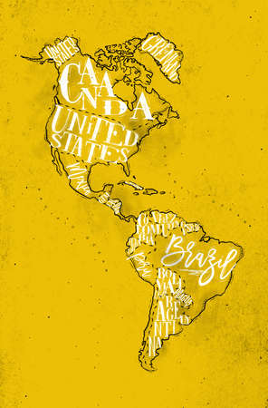 Vintage America map with country inscription united states, canada, mexico, brasil, peru, argentina drawing on yellow background