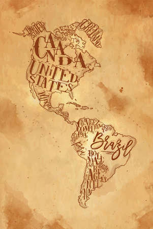 Vintage america map with country inscription united states, canada, mexico, brasil, peru, argentina drawing on craft background Иллюстрация