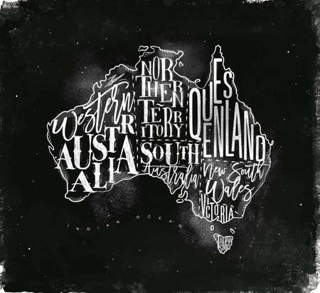 tasmania: Vintage australia map with regions inscription western, northern, south, australia, queensland, victoria, tasmania drawing with chalk on chalkboard background Illustration