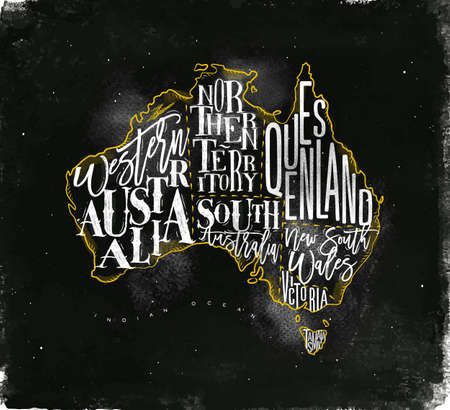 tasmania: Vintage australia map with regions inscription western, northern, south, australia, queensland, victoria, tasmania drawing with chalk and yellow on chalkboard background
