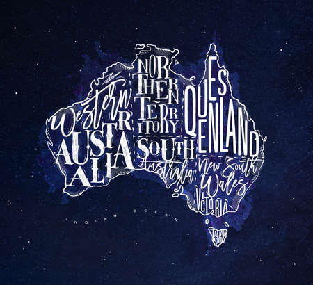 tasmania: Vintage australia map with regions inscription western, northern, south, australia, queensland, victoria, tasmania drawing with chalk on blue background