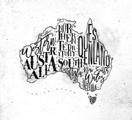 Vintage australia map with regions inscription western, northern, south, australia, queensland, victoria, tasmania drawing on dirty paper background