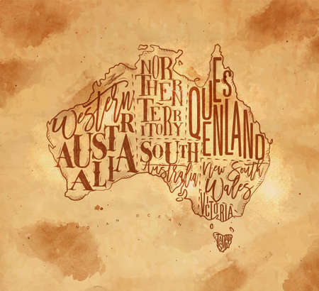 Vintage australia map with regions inscriptionwestern, northern, south, australia, queensland, victoria, tasmania drawing on craft background Illustration