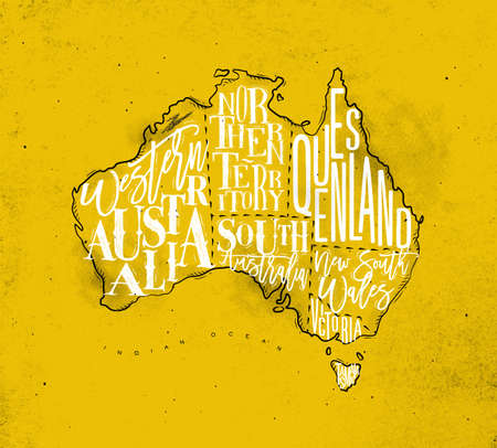 queensland: Vintage australia map with regions inscription western, northern, south, australia, queensland, victoria, tasmania drawing on yellow background