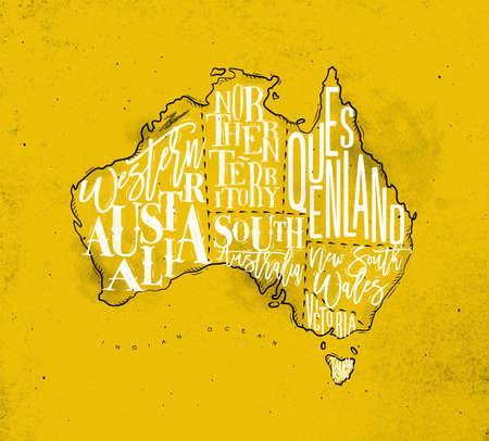 tasmania: Vintage australia map with regions inscription western, northern, south, australia, queensland, victoria, tasmania drawing on yellow background