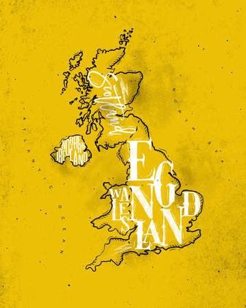 coal: Vintage united kingdom map with regions inscription scotland, northern ireland, england, wales drawing on yellow background