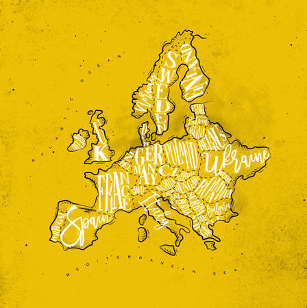 Vintage europe map with countries inscription uk, ireland, norway, sweden, finland, germany, france, spain, italy, poland, czech austria switzerland netherlands belgium drawing on yellow paper