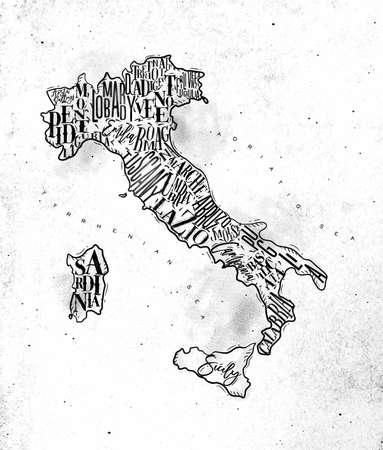 Vintage italy map with regions inscription sardinia, sicily, lazio, tuscany, liguria, marche, abruzzo, calabria, puglia, veneto trentino lombardy marche drawing on dirty paper