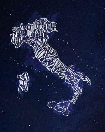 Vintage italy map with regions inscription sardinia, sicily, lazio, tuscany, liguria, marche, abruzzo, calabria, puglia, veneto, trentino lombardy marche drawing with chalk on blue background