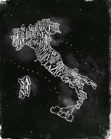 Vintage italy map with regions inscription sardinia, sicily, lazio, tuscany, liguria, marche, abruzzo, calabria, puglia, veneto, trentino lombardy marche drawing with chalk on chalkboard background