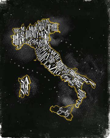 비문 사르데냐, 시칠리아, lazio, 토스카나, 리구 리아, marche, abruzzo, 브리 아, puglia, 베네토, trentino 롬바르디아 marche와 빈티지 이탈리아지도 분필로 그리