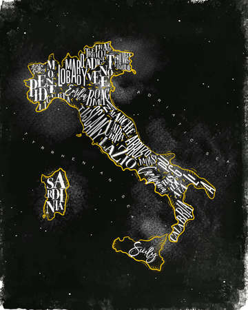 Vintage italy map with regions inscription sardinia, sicily, lazio, tuscany, liguria, marche, abruzzo, calabria, puglia, veneto, trentino lombardy marche drawing with chalk and yellow on chalkboard