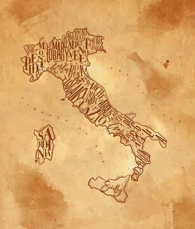 Vintage italy map with regions inscription sardinia, sicily, lazio, tuscany, liguria, marche, abruzzo, calabria, puglia, veneto trentino lombardy marche drawing on craft background