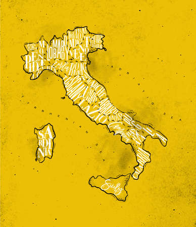 Vintage italy map with regions inscription sardinia, sicily, lazio, tuscany, liguria, marche, abruzzo, calabria, puglia, veneto trentino lombardy marche drawing on yellow paper Illustration