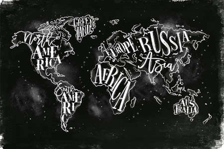 Vintage worldmap with inscription greenland, north america, south america, africa, europe, asia, australia, russia drawing with chalk on chalkboard background.