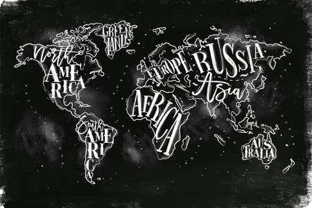 Vintage wereldkaart met opschrift groenland, Noord-Amerika, Zuid-Amerika, Afrika, Europa, Azië, Australië, Rusland tekenen met krijt op achtergrond van het bord. Stock Illustratie