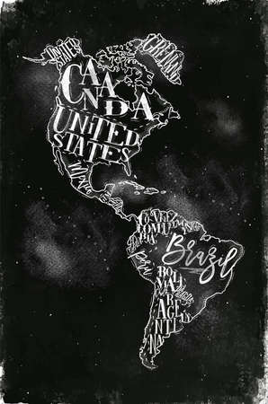 Vintage America map with country inscription united states, canada, mexico, brasil, peru, argentina drawing with chalk on chalkboard background