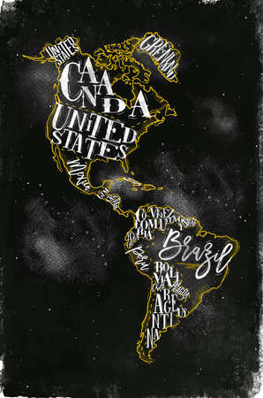 Vintage America map with country inscription United States, Canada, Mexico, Brasil, Peru, Argentina drawing with chalk and yellow on chalkboard background