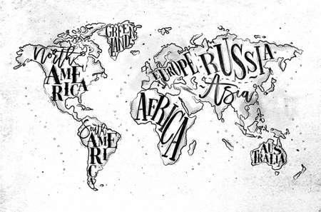 Vintage worldmap with inscription; Greenland, North America, South America, Africa, Europe, Asia, Australia, Russia drawing on dirty paper background. Vectores
