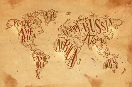 Vintage worldmap with inscription Greenland, North America, South America, Africa, Europe, Asia, Australia, Russia drawing on craft background.