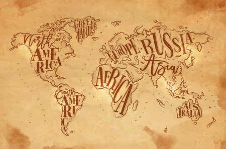 Vintage wereldkaart met opschrift Groenland, Noord-Amerika, Zuid-Amerika, Afrika, Europa, Azië, Australië, Rusland tekenen op ambachtelijke achtergrond. Stock Illustratie
