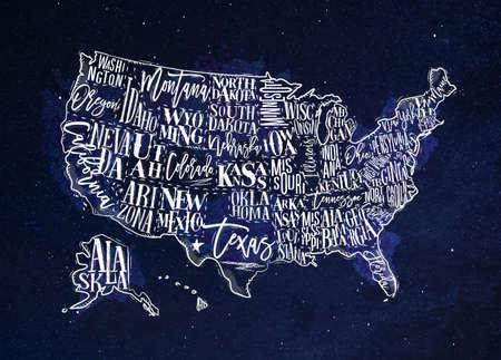ビンテージ アメリカ地図状態碑文カリフォルニア、フロリダ、ワシントン、テキサス、ニューヨーク、カンザス、ネバダ州、tennessy、ミズーリ州、