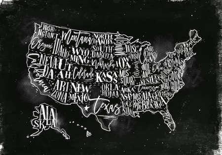 Vintage usa map with states inscription california, florida, washington, texas, new york, kansas, nevada, tennessy, missouri, arizona, illinois, oregon, louisiana drawing with chalk on chalkboard