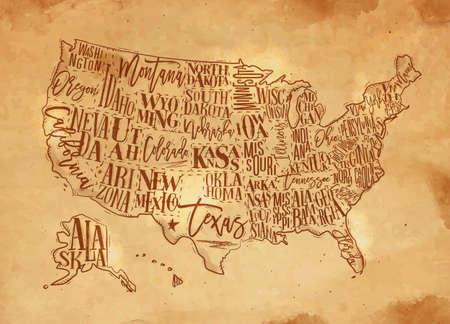 Vintage usa map with states inscription california, florida, washington, texas, new york, kansas, nevada, tennessy, missouri, arizona, illinois, oregon, louisiana drawing with chalk and yellow Illustration