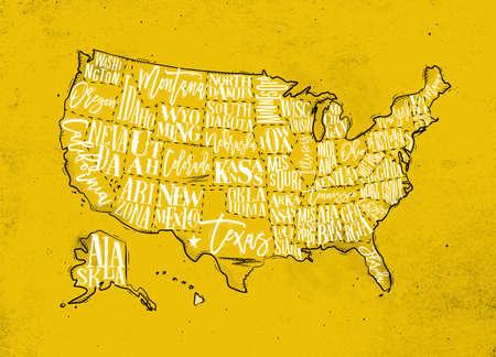 Vintage usa map with states inscription california, florida, washington, texas, new york, kansas, nevada, tennessy, missouri, arizona, illinois, oregon, louisiana drawing on yellow paper