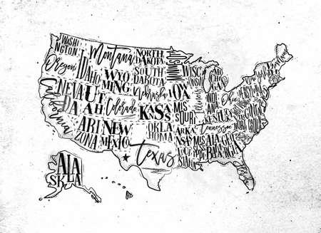 Vintage Usa Map With States Inscription California Florida