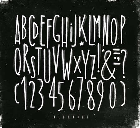 Alphabet set straight lines font in vintage style drawing with chalk on chalkboard background