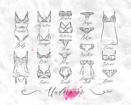 Set of classic underwear icons in vintage style drawing with lines